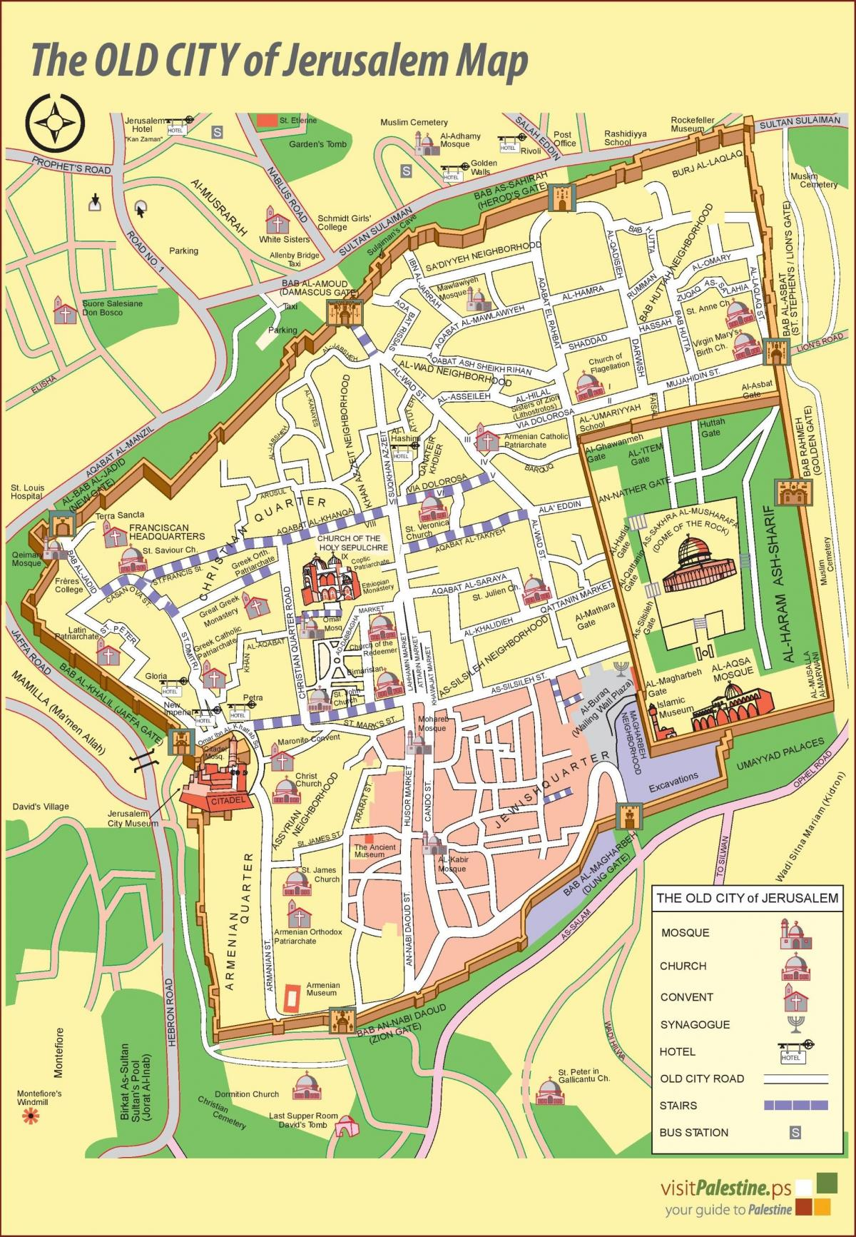 Jerusalem walking tours map